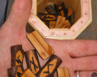 Alder Wood Rune Set and Cedar Wood Casting Cup