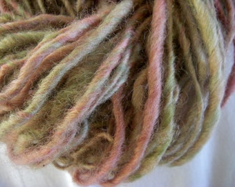 Handspun Hand Dyed Bulky Coopworth Wool Yarn in Mixed Colors of Pink Green Gold by KnoxFarmFiber for Knit Crochet Weave Felt