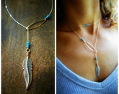 Sterling silver feather charm lariat, y necklace, Turquoise necklace, native american, nature, boho, southwestern style, layering necklace