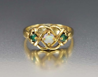 Antique Opal Emerald Ring, Gold Opal Engagement Ring, Celtic Love Knot Ring, Art Deco Ring, Gold Antique Engagement Ring, Bohemian Bride