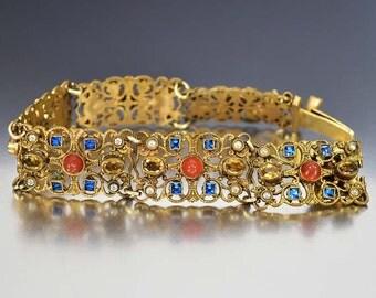 Czech Art Deco Bracelet, Sapphire Glass Citrine Rhinestone Bracelet, Carnelian Bracelet Vintage Rhinestone Jewelry Art Deco Jewelry, Antique