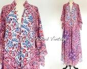 RESERVED - Vtg 70s Adini Cotton Caftan Hippie Indian Festival Boho Gypsy Maxi Dress . SML . 1187.6.9.16
