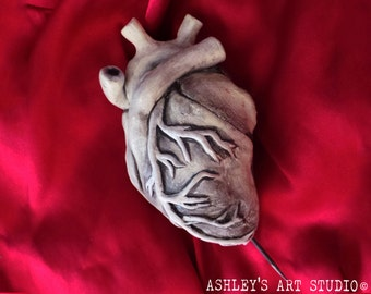 Creepy Life Size Human Heart Sculpture - Hand Sculpted and painted