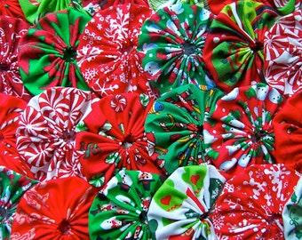 Fabric CHRISTMAS Applique 40 Yo Yo 2 Inch Fabric Flower Headband Barrette Hair Clip Trim