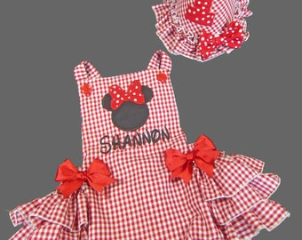 Minnie Inspired Ruffled Sunsuit in Red Gingham Party Hat and Birthday Bib Optional