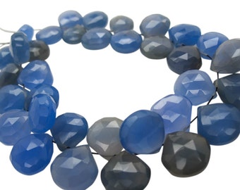 Blue Chalcedony Briolette Beads, Cobalt Blue Chalcedony, 10-12mm, Heart Briolettes, SKU 5037