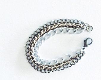 Multi Strand Mixed Metal Chain Bracelet