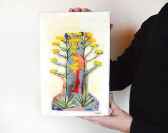 Original abstract desert Century Plant landscape painting on wood panel, Southwest Decor, Cactus Painting, Free Shipping