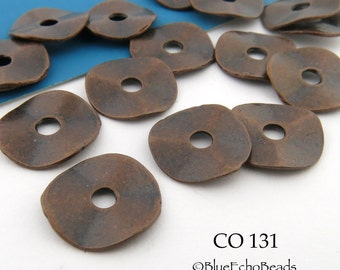 14mm Antique Copper Potato Chip Wavy Disk Beads (CO 131) 12 pcs BlueEchoBeads
