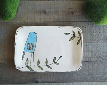 Ceramic bird dish, small blue bird tray, blue bird plate home decor, summer outdoor dinning, food tray