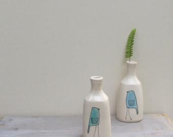 Blue bird vase, small bird flower vase, ceramic spring flower garden vase
