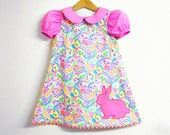 Last one! EASTER girl handmade dress with short puff sleeves, peter pan collar and hand embroidered bunny applique, size 3 years