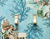 4 CHOICES of Mermaid Double switchplates & MATCHING Screws- Mermaid wall decorations mermaid collectible mermaid wall art mermaids art (C)