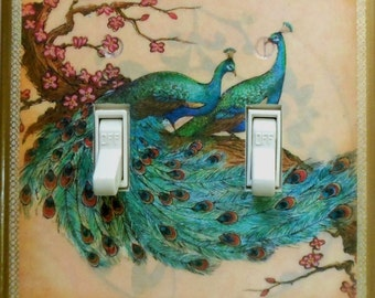 Asian & altered art peacock switch covers w/ MATCHING SCREWS- Peacock light switch covers peacock wall decor peacock outlet plates Asian art