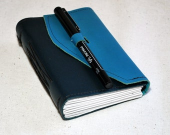 Small Bluesy Leather Travel Journal with Recycled Paper