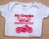 Grandpa Love me MotorCycle short Sleeved Onesie or Tshirt  Boutique Custom Monogram Personalized