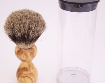 Olivewood 16mm Silvertip Badger Travel Brush  (Handmade in USA) O3 -  Executive Gift - 5th Anniversary - Wood Shaving Brush - Gift for Him