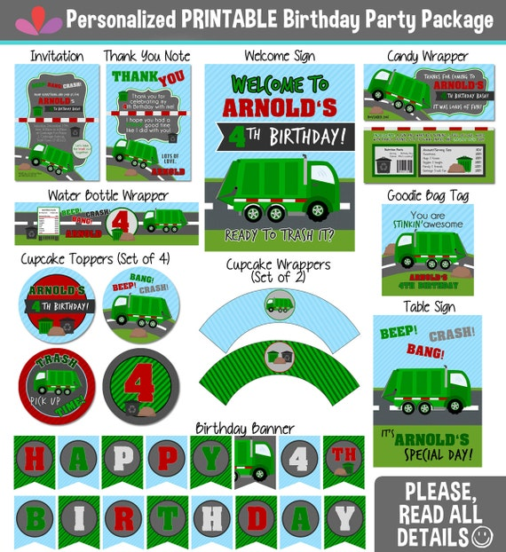Garbage Truck Party Package - PRINTABLE Party Package - Personalized Birthday Package - Garbage Truck Invitations Thank you notes and Favors