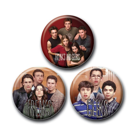 Freaks and Geeks Set of 1inch Pinback Buttons or Magnets