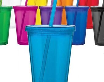 16 oz Acrylic Double Wall Tumbler with straw BPA free