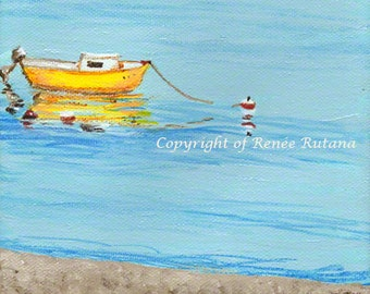 Nautical Wall Art, Original Painting, Yellow Boat on Beach, Provincetown, Cape Cod, 6x6""