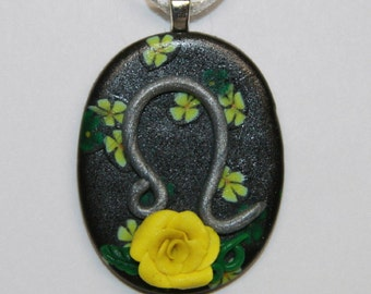 Leo Yellow Rose Astrology Polymer Clay Pendant