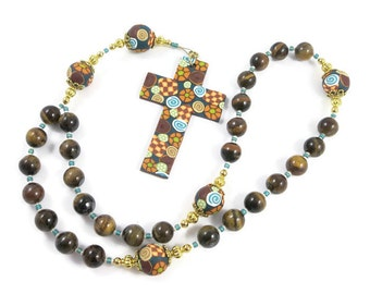 Tiger Eye Gemstone Anglican Rosary Prayer Beads Handmade Polymer Clay Cross and Focals Protestant Everything Else Religious Gift