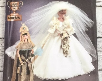 """Simplicity 7077 Diva Doll Collection Clothes 11-1/2"""" Sewing Pattern Princess Diana Wedding Dress Cleopatra Costume Barbie UNCUT"""