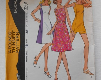 Vintage 70s Sleeveless Dress or Tunic over Shorts Sewing Pattern McCalls 3201 Size 16 Bust 38