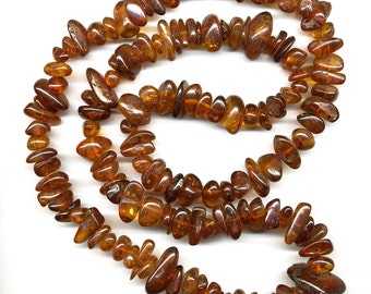 "Natural Genuine Baltic Amber Bead Strand 36.25"" Polished Golden Graduated Nuggets"