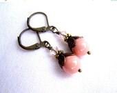 CIJ SALE 20% OFF Pink Coral Pearl Earrings, Swarovski Pearl & Crystals, Antiqued Brass Leverbacks, Boho Chic Earrings, Rustic Bridal Earring