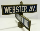 "Original Traffic and Street Sign Co. ""No Bolt"" double Porcelain sign blue and white Webster and Lakview mid century  New York"