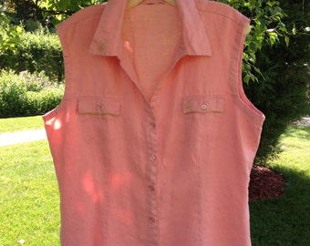 TOP, linen sleeveless button down women's summer shirt peach green leaf embroidery upcycled blouse large L size 14 16 i309 sale