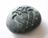 Luckenbooth Engraved Stone Scottish Brooch River Rock Wedding Oath Stone