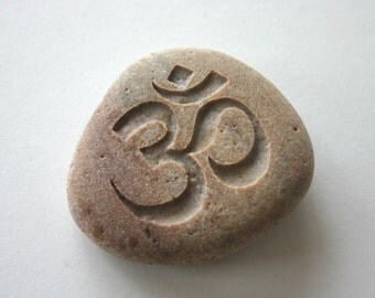 Om Engraved Stone Aum Brown River Rock