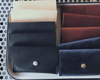 Small Leather Snap Wallet or Card Case