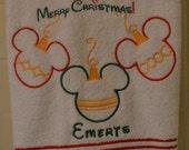 CHRISRMAS SALE Disney Christmas Personalized Mickey Ornaments on Large Plush Bath Towel