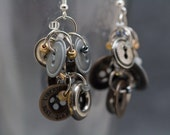 Button Dangle Earrings / Metal Buttons with Neutral Accents / Unique Versatile Neutral Earrings by randomcreative on Etsy