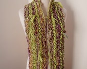 sale Scarf  Hand Spun Hand Knit Scarf lime green plum merino recycled silk soy