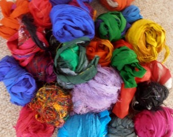plumfish recycled silk mixed multicolor random ribbon scrap bag knitting crochet craft embellishment yarn 300 grams