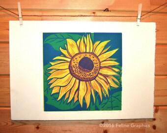 Sunflower Linoleum Block Print, Sunflower art, Linocut, Fine Art Print, Home Decor, Kitchen Decor, Flower Art Print