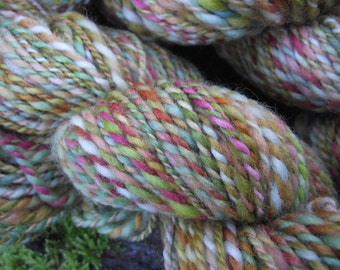 Handspun yarn,  handpainted yarn,  wool, worsted  yarn multiple skeins available-ZEPHYR