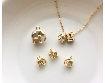 TINY Mini Elephant Necklace - 3D Mini Gold or Silver Elephant Charm Childrens Girl Necklace Flower Girl Gift Elephant Necklace Elephant