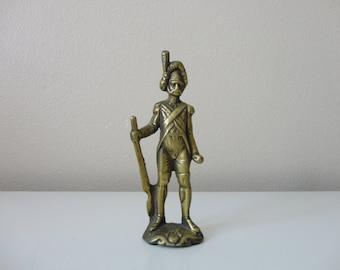 VINTAGE brass 18th century style SOLDIER FIGURINE