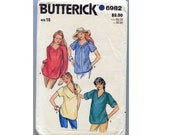 Vintage 1980s Blouse Top Sewing Pattern - Butterick 6982 - Size 16 - Long or Short Sleeve - V Neck