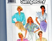 Blouse Shirt Sewing Pattern Simplicity 7855  Size 16 18 20 Button Front, Long or Short Sleeves, Collar