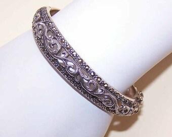 Vintage Bangle Bracelet, Sterling Bangle, Silver Bangle,  STERLING SILVER, Marcasite, Hinged Bangle, Bangle Bracelet, Marcasite Bracelet