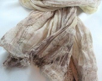 Eco Print Cotton Scarf, Fabric Jewellery, Fibre Art Accessory