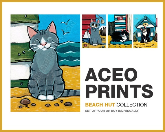 ACEO PRINTS Cats and Beach Huts | Seaside Kitty | 4 to choose from or buy Full Set (Open Edition)