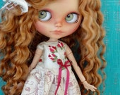 Blythe doll OOAK outfit *Memories* embroidered silk and antique lace